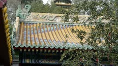China ancient architecture White Tower in temple,Beijing Beihai Park. Stock Footage