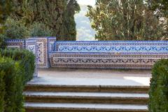 azulejo bench. convent of christ, tomar, portugal - stock photo