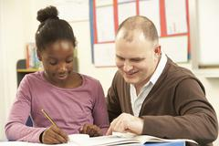 Female Pupil Studying in classroom with teacher - stock photo