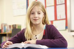 Schoolgirl Studying In Classroom Stock Photos