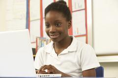 Schoolgirl In IT Class Using Computer Stock Photos