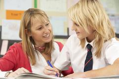 Female Teenage Student Studying In Classroom With Teacher Stock Photos