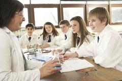 Group Of Teenage Students In Science Class With Tutor - stock photo