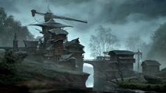 Fantasy building over flowing creek. Stock Footage