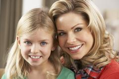 Portrait Of Happy Daughter With Mother Stock Photos