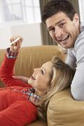 Couple Looking At Result Of Home Pregnancy Test Kit Stock Photos