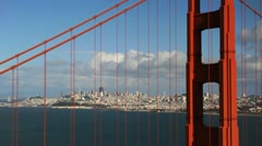 Ultra HD 4K San Francisco Bay Skyline, Golden Gate Bridge Aerial View time lapse - stock footage