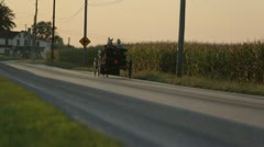 Horse pulling buggy on long stretch of road Stock Footage