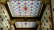 Stock Video Footage of Stained Glass Windows On Mausoleum Ceiling Zoom