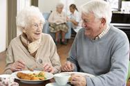Stock Photo of Senior Couple Enjoying Meal Together