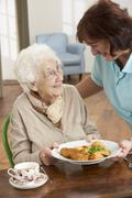 Stock Photo of Senior Woman Being Served Meal By Carer