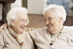 Two Senior Women Friends At Day Care Centre Stock Photos