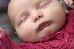 Portrait Of Sleeping Newborn Baby Girl Stock Photos