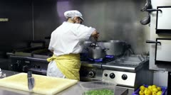 Chef  in a italian restaurant Stock Footage