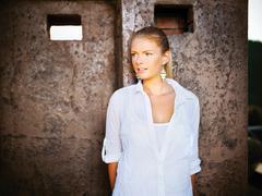 Girl outdoor, white dressed Stock Photos