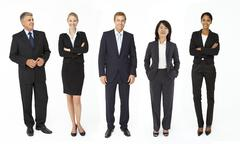 Mixed group of business men and women - stock photo