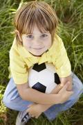 Portrait of happy boy - stock photo