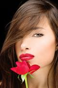 woman and red rose - stock photo