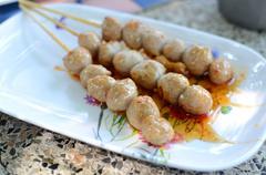 Pork ball with spicy sauce Stock Photos