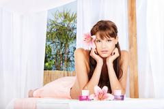 Woman resting in spa salon Stock Photos