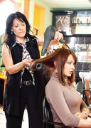 Hairdresser and customer Stock Photos