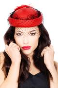 Woman with red hat Stock Photos