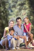 Family on country walk Stock Photos