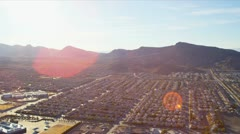 Aerial landscape view desert communities, USA Stock Footage