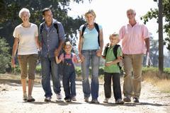 Three generation family on country walk Stock Photos