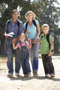 Young family on country walk Stock Photos