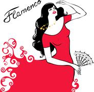 Girl dancing flamenco Stock Illustration