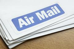 Air mail documents for despatch Stock Photos