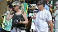 HD Stock Footage 1080p - Tourists at vendor in Falmouth Jamaica Stock Footage