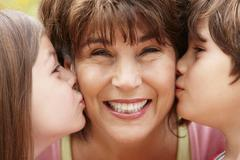 Hispanic grandmother and grandchildren Stock Photos