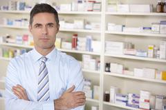 Stock Photo of Portrait UK pharmacist at work