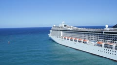 HD Stock Footage 1080p - MSC  Cruise Ship pulling out of Island Port Stock Footage