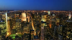 Ultra HD 4K New York City Skyline Aerial View Midtown Manhattan night timelapse Stock Footage
