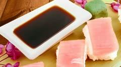 Nigiri Sushi - Set of Nigiri sushi topped with raw Tuna (maguro) Stock Footage