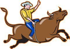 Rodeo cowboy Bull Riding retro. Piirros