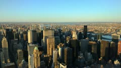 Ultra HD 4K New York City Skyline Sunset Aerial View, Manhattan, time lapse Stock Footage