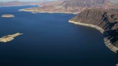 Aerial view Lake Mead reservoir, Las Vegas, USA Stock Footage