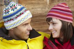 Middle Aged Couple Dressed For Cold Weather Stock Photos
