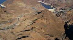 Aerial view Hoover Dam, US 93, Las Vegas, USA Stock Footage