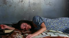 Young untidy woman waking up. Stock Footage