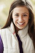 Outdoor Portrait Of Teenage Girl Wearing Winter Clothes Stock Photos