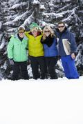 Stock Photo of Group Of Young Friends On Ski Holiday In Mountains