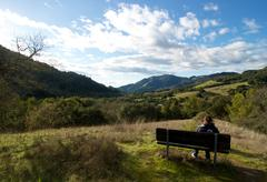 Stock Photo of Woman hiker rests at a bench with scenic view