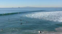 Huntington Beach Surfers Stock Footage