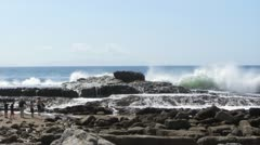Waves Crash Against Rocks Stock Footage