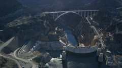 Aerial view Hoover Dam Bypass Project on US 93, USA - stock footage